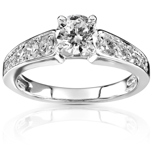 Round Brillant Diamond Engagement Ring in 14K White Gold